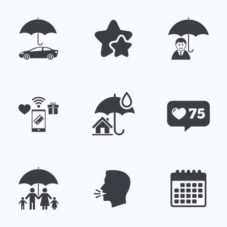 head protection: Family, Real estate or Home insurance icons. Life insurance and umbrella symbols. Car protection sign. Flat talking head, calendar icons. Stars, like counter icons. Vector Illustration