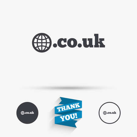 subdomain: Domain CO.UK sign icon. UK internet subdomain symbol with globe. Flat icons. Buttons with icons. Thank you ribbon. Vector