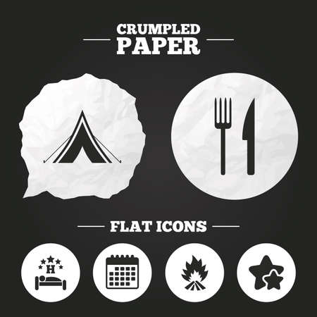 breakfast in bed: Crumpled paper speech bubble. Food, sleep, camping tent and fire icons. Knife and fork. Hotel or bed and breakfast. Road signs. Paper button. Vector