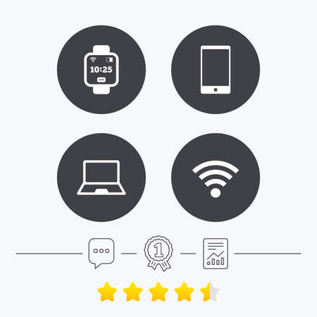 energy ranking: Notebook and smartphone icons. Smart watch symbol. Wifi and battery energy signs. Wireless Network symbol. Mobile devices. Chat, award medal and report linear icons. Star vote ranking. Vector Illustration
