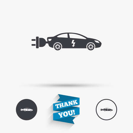 electric vehicle: Electric car sign icon. Sedan saloon symbol. Electric vehicle transport. Flat icons. Buttons with icons. Thank you ribbon. Vector Illustration