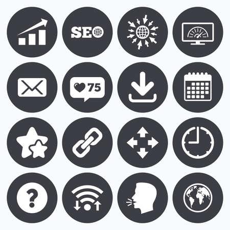 bandwidth: Calendar, wifi and clock symbols. Like counter, stars symbols. Internet, seo icons. Bandwidth speed, download arrow and mail signs. Hyperlink, monitoring symbols. Talking head, go to web symbols. Vector Illustration