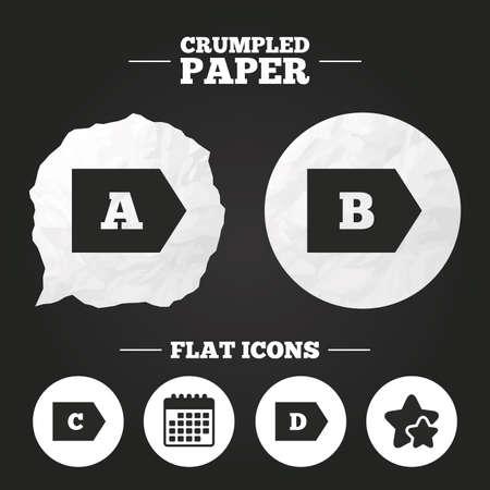 energy consumption: Crumpled paper speech bubble. Energy efficiency class icons. Energy consumption sign symbols. Class A, B, C and D. Paper button. Vector Illustration