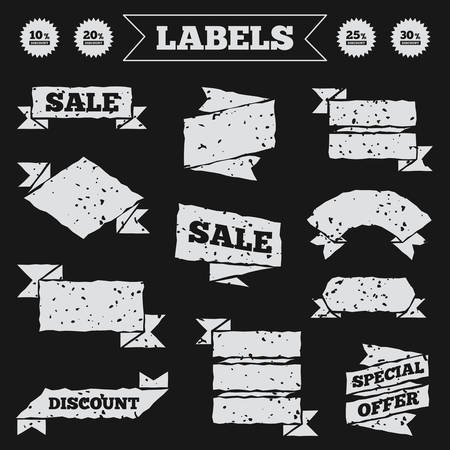 20 25: Stickers, tags and banners with grunge. Sale discount icons. Special offer price signs. 10, 20, 25 and 30 percent off reduction symbols. Sale or discount labels. Vector