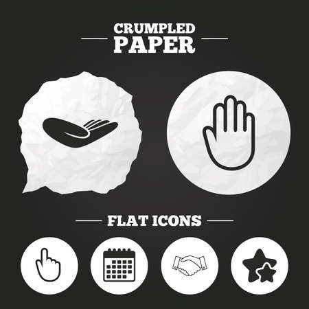hand paper: Crumpled paper speech bubble. Hand icons. Handshake successful business symbol. Click here press sign. Human helping donation hand. Paper button. Vector