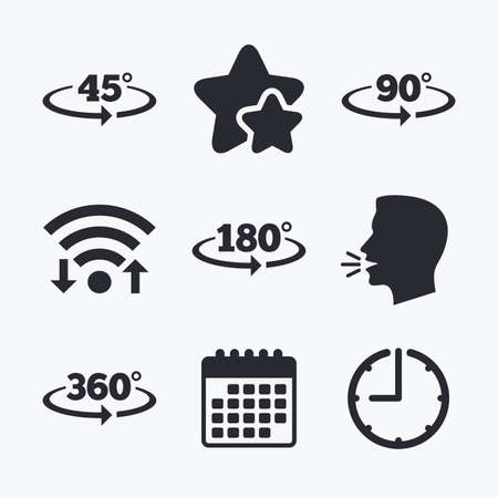 acute angle: Angle 45-360 degrees icons. Geometry math signs symbols. Full complete rotation arrow. Wifi internet, favorite stars, calendar and clock. Talking head. Vector