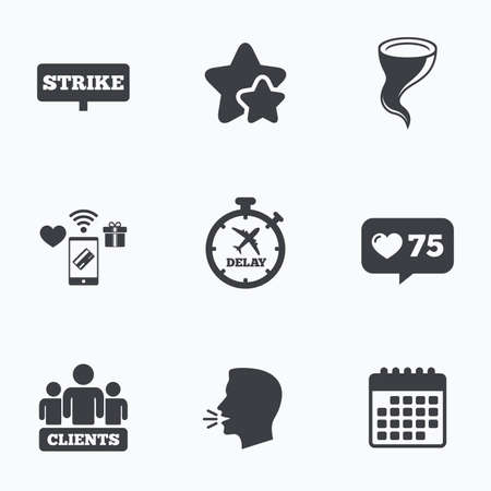 bad weather: Strike icon. Storm bad weather and group of people signs. Delayed flight symbol. Flat talking head, calendar icons. Stars, like counter icons. Vector Illustration