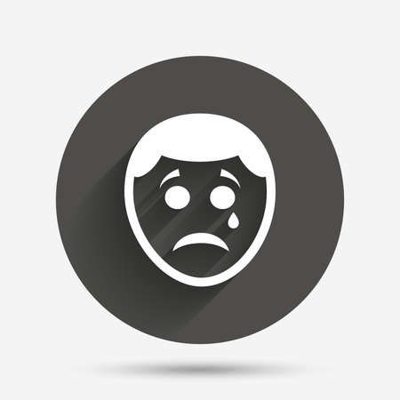 tear: Sad face with tear sign icon. Crying chat symbol. Circle flat button with shadow. Vector