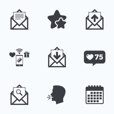 outbox: Mail envelope icons. Find message document symbol. Post office letter signs. Inbox and outbox message icons. Flat talking head, calendar icons. Stars, like counter icons. Vector