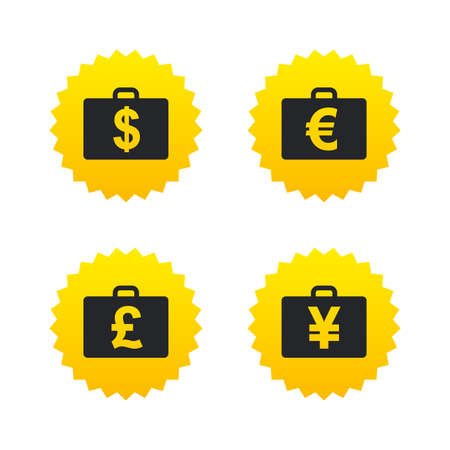 diplomat: Businessman case icons. Cash money diplomat signs. Dollar, euro and pound symbols. Yellow stars labels with flat icons. Vector
