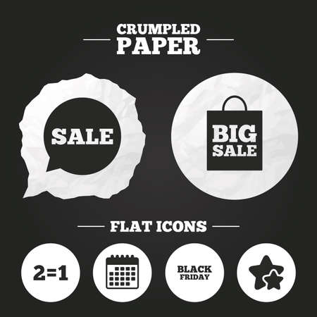 equals: Crumpled paper speech bubble. Sale speech bubble icons. Two equals one. Black friday sign. Big sale shopping bag symbol. Paper button. Vector