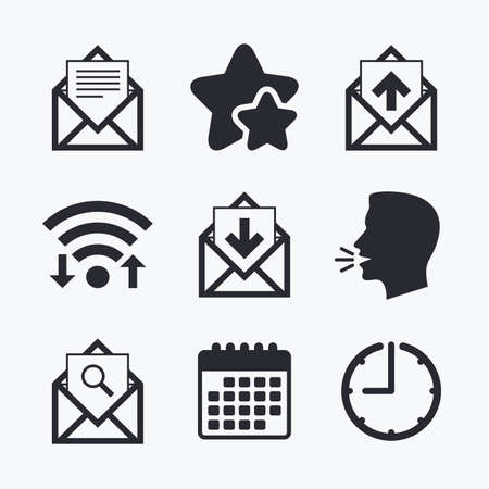 webmail: Mail envelope icons. Find message document symbol. Post office letter signs. Inbox and outbox message icons. Wifi internet, favorite stars, calendar and clock. Talking head. Vector