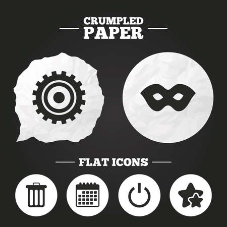 paper mask: Crumpled paper speech bubble. Anonymous mask and cogwheel gear icons. Recycle bin delete and power sign symbols. Paper button. Vector
