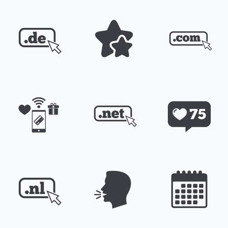 nl: Top-level internet domain icons. De, Com, Net and Nl symbols with cursor pointer. Unique national DNS names. Flat talking head, calendar icons. Stars, like counter icons. Vector