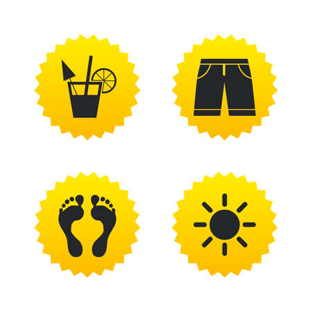 Beach holidays icons. Cocktail, human footprints and swimming trunks signs. Summer sun symbol. Yellow stars labels with flat icons. Vector