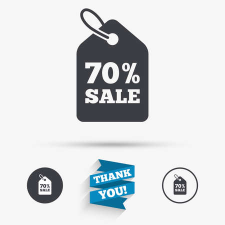 you are special: 70% sale price tag sign icon. Discount symbol. Special offer label. Flat icons. Buttons with icons. Thank you ribbon. Vector