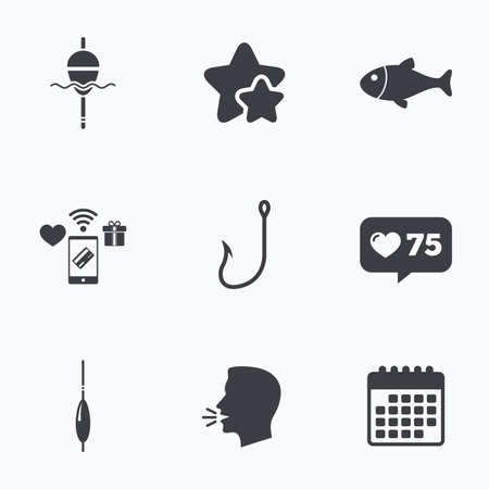 Fishing icons. Fish with fishermen hook sign. Float bobber symbol. Flat talking head, calendar icons. Stars, like counter icons. Vector