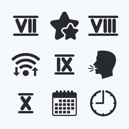 ancient rome: Roman numeral icons. 7, 8, 9 and 10 digit characters. Ancient Rome numeric system. Wifi internet, favorite stars, calendar and clock. Talking head. Vector Illustration