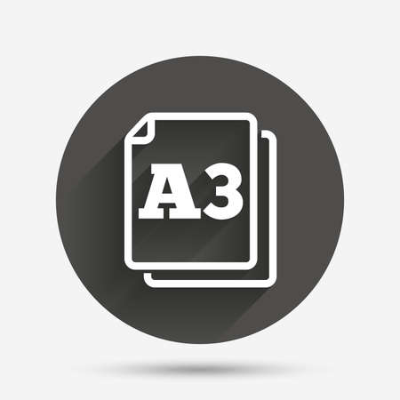 a3: Paper size A3 standard icon. File document symbol. Circle flat button with shadow. Vector