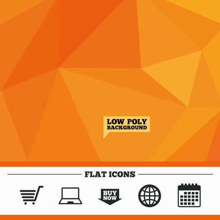 ultrabook: Triangular low poly orange background. Online shopping icons. Notebook pc, shopping cart, buy now arrow and internet signs. WWW globe symbol. Calendar flat icon. Vector