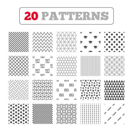 higher: Ornament patterns, diagonal stripes and stars. Pencil and open book icons. Graduation cap symbol. Higher education learn signs. Geometric textures. Vector