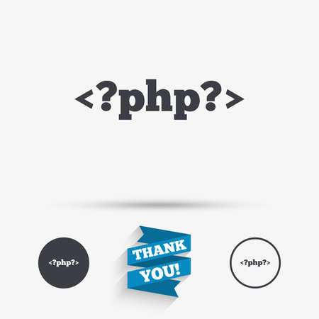 hypertext: PHP sign icon. Programming language symbol. Flat icons. Buttons with icons. Thank you ribbon. Vector