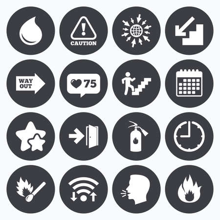 emergency attention: Calendar, wifi and clock symbols. Like counter, stars symbols. Fire safety, emergency icons. Fire extinguisher, exit and attention signs. Caution, water drop and way out symbols. Talking head, go to web symbols. Vector