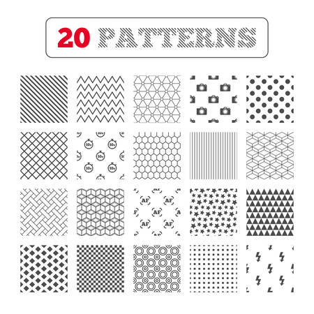 Ornament patterns, diagonal stripes and stars. Photo camera icon. Flash light and autofocus AF symbols. Stopwatch timer 10 seconds sign. Geometric textures. Vector