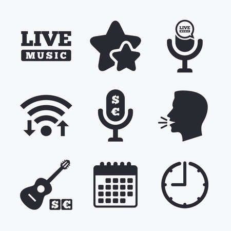 jazz time: Musical elements icons. Microphone and Live music symbols. Paid music and acoustic guitar signs. Wifi internet, favorite stars, calendar and clock. Talking head. Vector