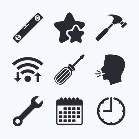 hammer head: Screwdriver and wrench key tool icons. Bubble level and hammer sign symbols. Wifi internet, favorite stars, calendar and clock. Talking head. Vector
