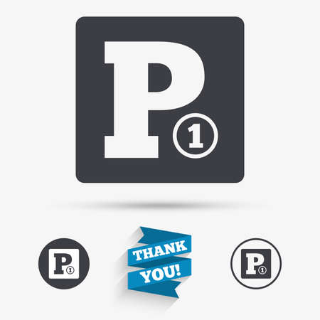 toll: Paid parking sign icon. Car parking symbol. Flat icons. Buttons with icons. Thank you ribbon. Vector Illustration