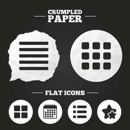 thumbnails: Crumpled paper speech bubble. List menu icons. Content view options symbols. Thumbnails grid or Gallery view. Paper button. Vector