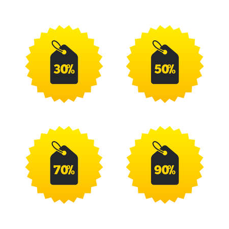 Sale price tag icons. Discount special offer symbols. 30%, 50%, 70% and 90% percent discount signs. Yellow stars labels with flat icons. Vector