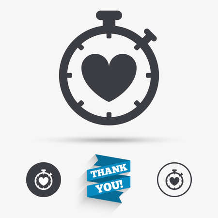 palpitation: Heart Timer sign icon. Stopwatch symbol. Heartbeat palpitation. Flat icons. Buttons with icons. Thank you ribbon. Vector