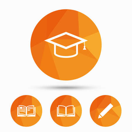 higher education: Pencil and open book icons. Graduation cap symbol. Higher education learn signs. Triangular low poly buttons with shadow. Vector Illustration