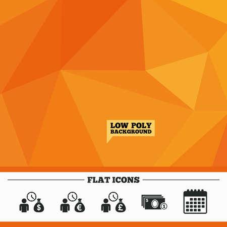 borrow: Triangular low poly orange background. Bank loans icons. Cash money bag symbols. Borrow money sign. Get Dollar money fast. Calendar flat icon. Vector