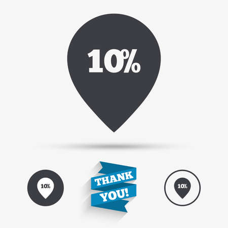 you are special: 10% sale pointer tag sign icon. Discount symbol. Special offer label. Flat icons. Buttons with icons. Thank you ribbon. Vector