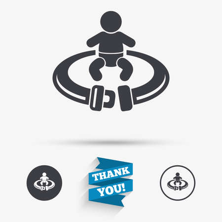 fasten: Fasten seat belt sign icon. Child safety in accident. Flat icons. Buttons with icons. Thank you ribbon. Vector