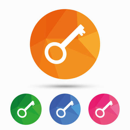 Key sign icon. Unlock tool symbol. Triangular low poly button with flat icon. Vector Illustration