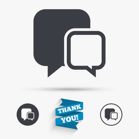 chat bubbles: Chat sign icon. Speech bubbles symbol. Communication chat bubbles. Flat icons. Buttons with icons. Thank you ribbon. Vector