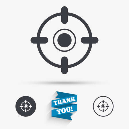 aim: Crosshair sign icon. Target aim symbol. Flat icons. Buttons with icons. Thank you ribbon. Vector Illustration
