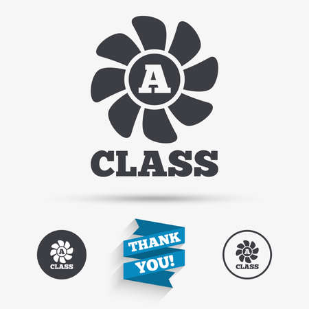 ventilation: A-class ventilation icon. Energy efficiency sign symbol. Flat icons. Buttons with icons. Thank you ribbon. Vector
