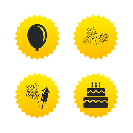 Birthday party icons. Cake and gift box signs. Air balloon and fireworks symbol. Yellow stars labels with flat icons. Vector Illustration