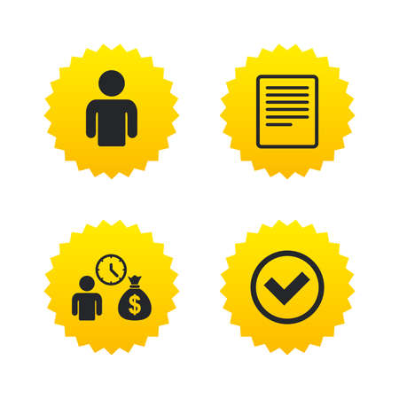 Bank loans icons. Cash money bag symbol. Apply for credit sign. Check or Tick mark. Yellow stars labels with flat icons. Vector