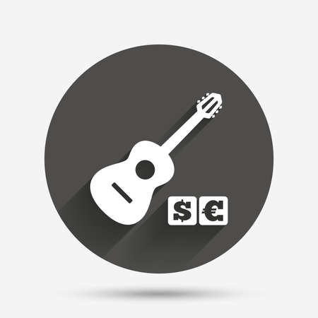 usr: Acoustic guitar sign icon. Paid music symbol. Circle flat button with shadow. Vector Illustration
