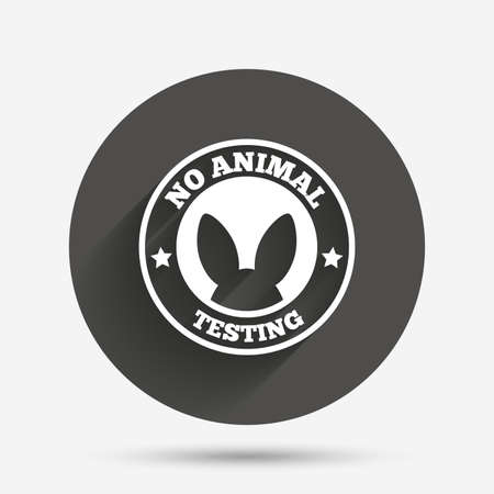 animals shadow: No animals testing sign icon. Not tested symbol. Circle flat button with shadow. Vector
