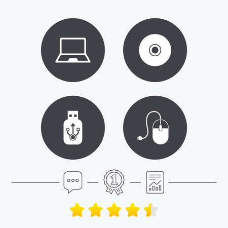 optical disk: Notebook pc and Usb flash drive stick icons. Computer mouse and CD or DVD sign symbols. Chat, award medal and report linear icons. Star vote ranking. Vector Illustration
