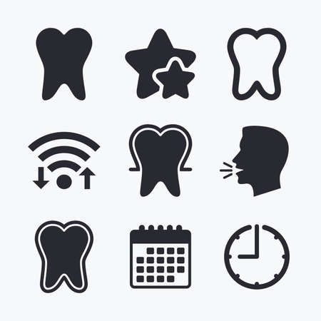 head protection: Tooth enamel protection icons. Dental care signs. Healthy teeth symbols. Wifi internet, favorite stars, calendar and clock. Talking head. Vector
