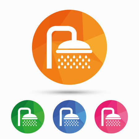 douche: Shower sign icon. Douche with water drops symbol. Triangular low poly button with flat icon. Vector