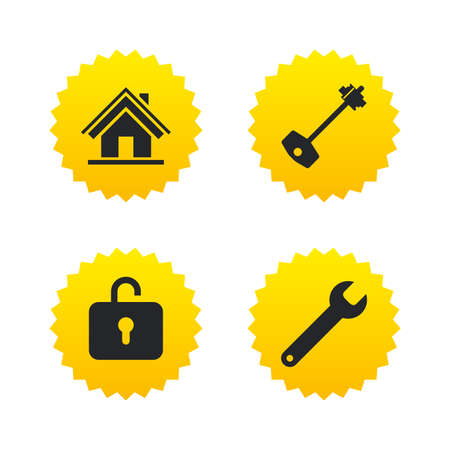 Home key icon. Wrench service tool symbol. Locker sign. Main page web navigation. Yellow stars labels with flat icons. Vector
